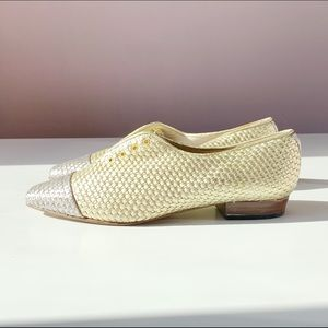 Shoes - vtg woven silver and gold leather slip ons